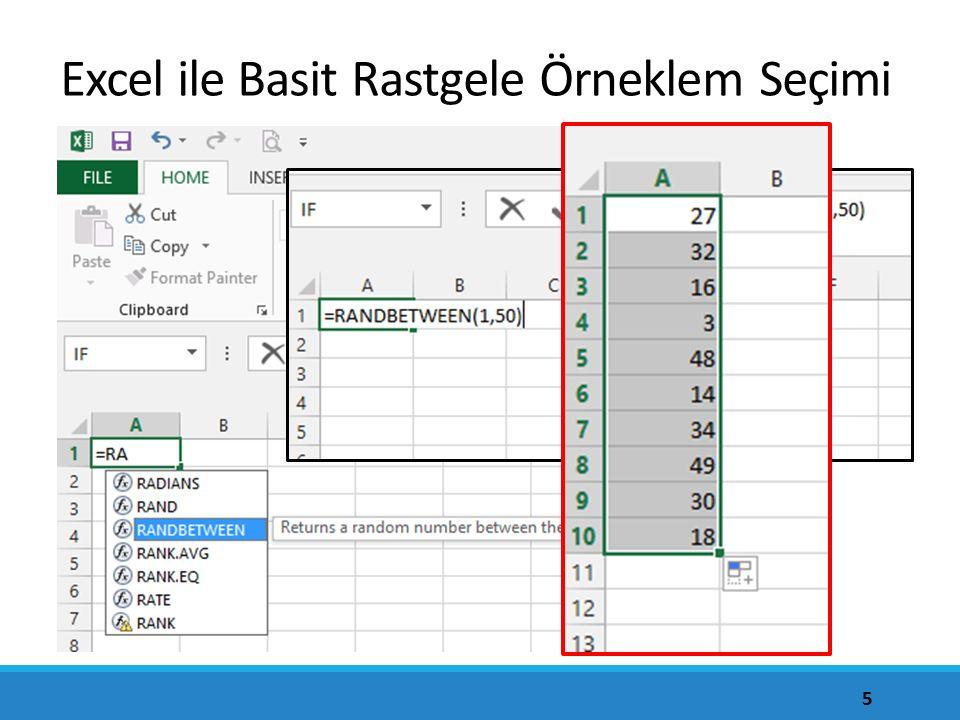 Excel ile Basit Rastgele Örneklem Seçimi 5