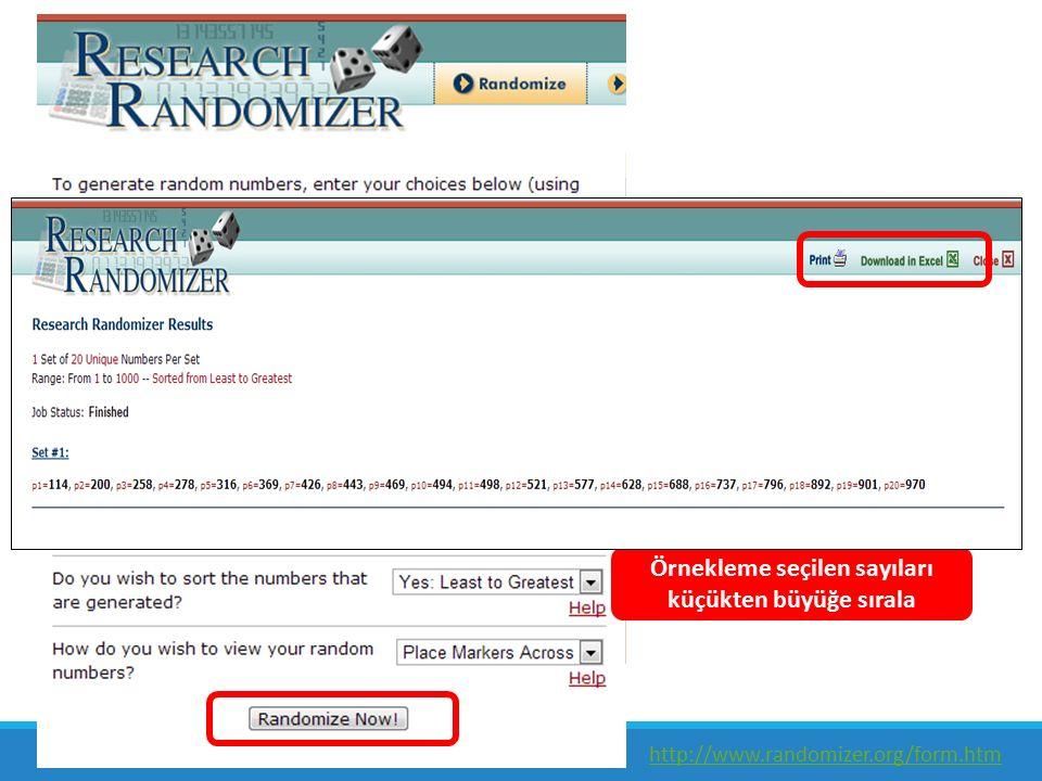 1 örneklem seçeceğiz Örneklemde 20 denek yer alacak Evrendeki denek sayısı 1000 Örnekleme seçilen sayıları küçükten büyüğe sırala http://www.randomizer.org/form.htm