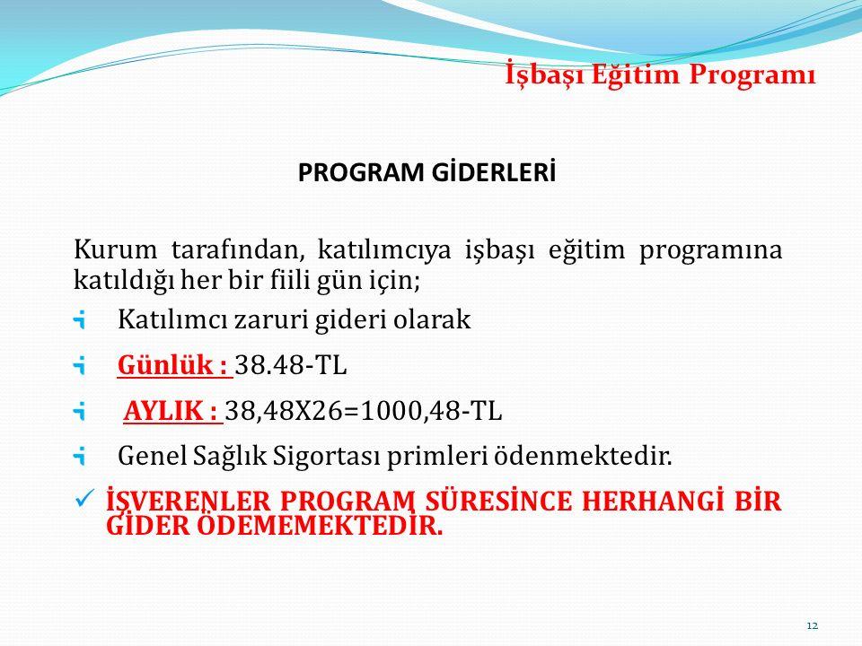 PROGRAM GİDERLERİ Kurum tarafından, katılımcıya işbaşı eğitim programına katıldığı her bir fiili gün için; Katılımcı zaruri gideri olarak Günlük : 38.