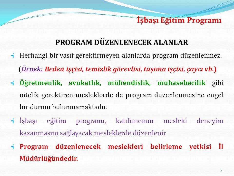 PROGRAM DÜZENLENECEK ALANLAR Herhangi bir vasıf gerektirmeyen alanlarda program düzenlenmez. (Örnek: Beden işçisi, temizlik görevlisi, taşıma işçisi,