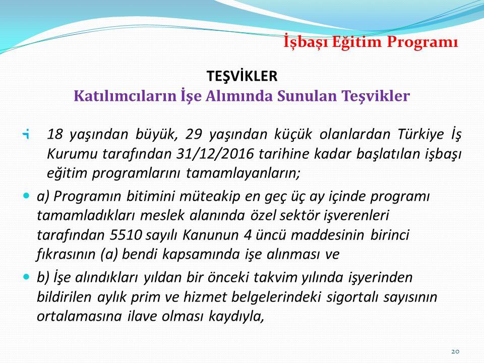 TEŞVİKLER Katılımcıların İşe Alımında Sunulan Teşvikler 18 yaşından büyük, 29 yaşından küçük olanlardan Türkiye İş Kurumu tarafından 31/12/2016 tarihi