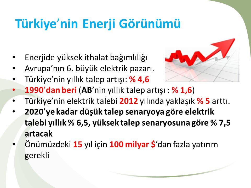 Türkiye'nin Enerji Görünümü Enerjide yüksek ithalat bağımlılığı Avrupa'nın 6. büyük elektrik pazarı. Türkiye'nin yıllık talep artışı: % 4,6 1990'dan b