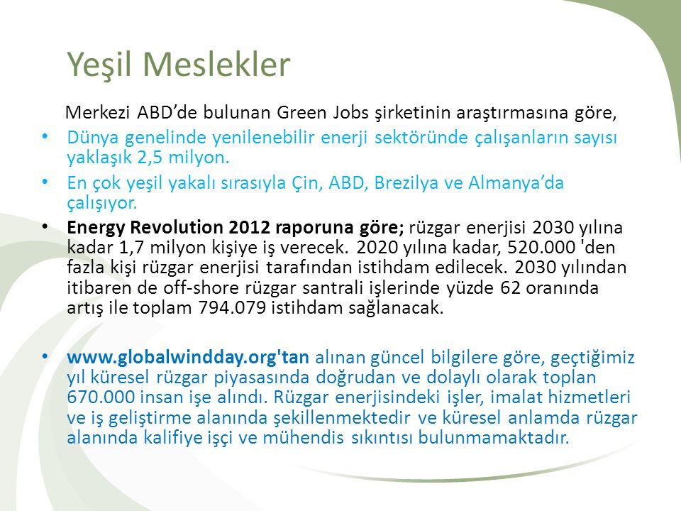 Yeşil Meslekler Merkezi ABD'de bulunan Green Jobs şirketinin araştırmasına göre, Dünya genelinde yenilenebilir enerji sektöründe çalışanların sayısı y