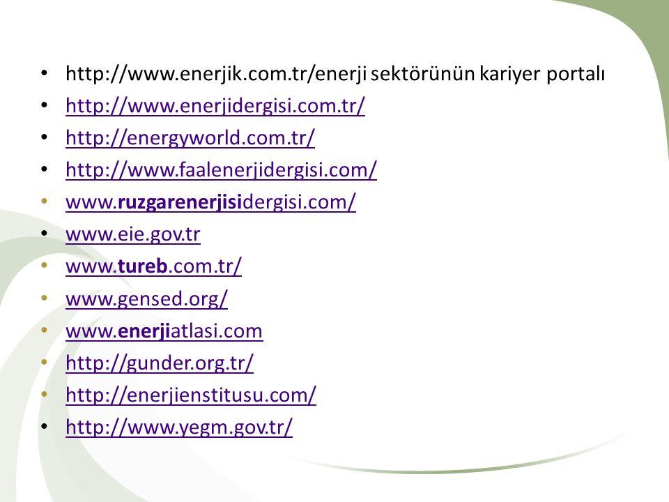 http://www.enerjik.com.tr/enerji sektörünün kariyer portalı http://www.enerjidergisi.com.tr/ http://energyworld.com.tr/ http://www.faalenerjidergisi.c