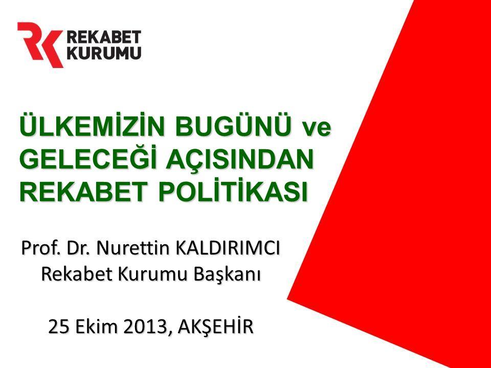 ÜLKEMİZİN BUGÜNÜ ve GELECEĞİ AÇISINDAN REKABET POLİTİKASI Prof. Dr. Nurettin KALDIRIMCI Rekabet Kurumu Başkanı 25 Ekim 2013, AKŞEHİR