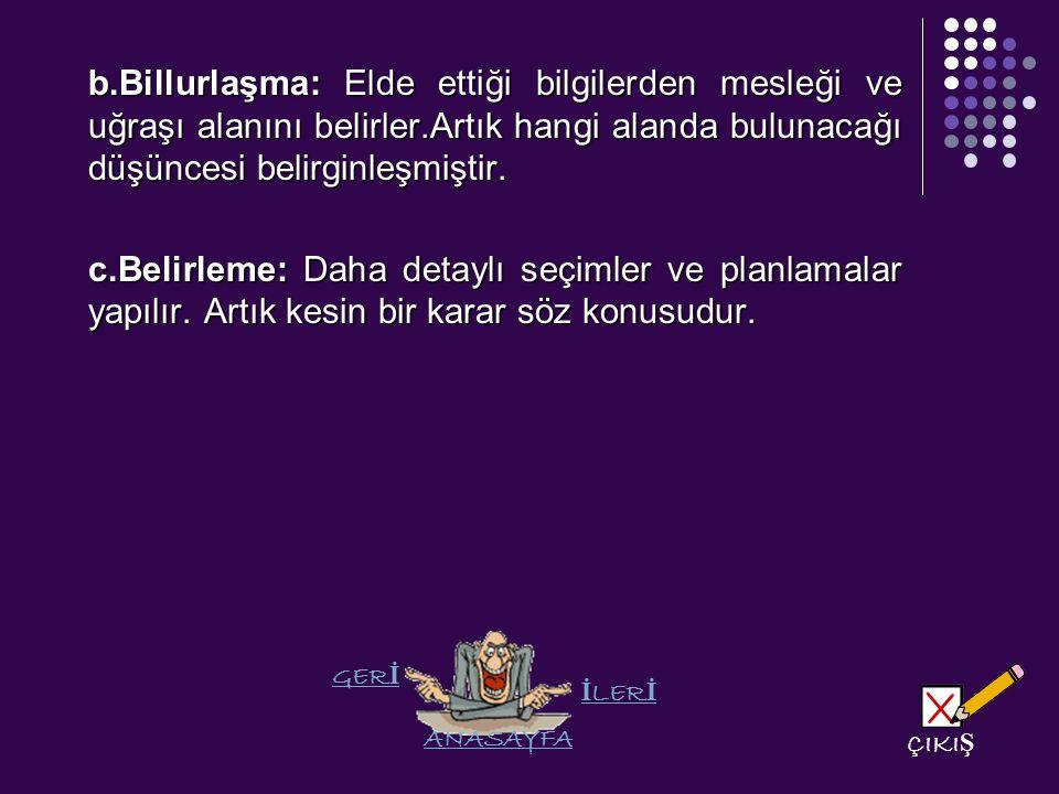 b.Billurlaşma: Elde ettiği bilgilerden mesleği ve uğraşı alanını belirler.Artık hangi alanda bulunacağı düşüncesi belirginleşmiştir.