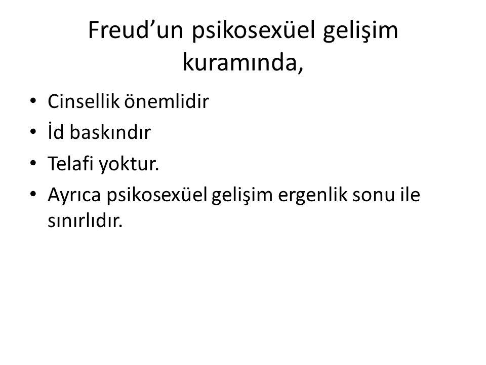 Freud'un psikosexüel gelişim kuramında, Cinsellik önemlidir İd baskındır Telafi yoktur.