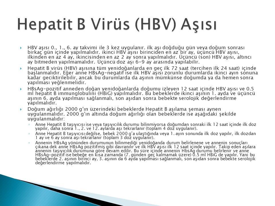  HBV aşısı 0., 1., 6. ay takvimi ile 3 kez uygulanır. ilk aşı doğduğu gün veya doğum sonrası birkaç gün içinde yapılmalıdır. ikinci HBV aşısı birinci