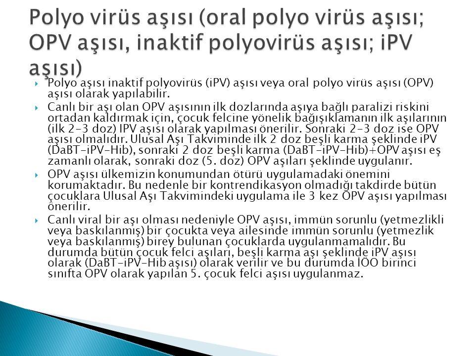  Polyo aşısı inaktif polyovirüs (iPV) aşısı veya oral polyo virüs aşısı (OPV) aşısı olarak yapılabilir.  Canlı bir aşı olan OPV aşısının ilk dozları