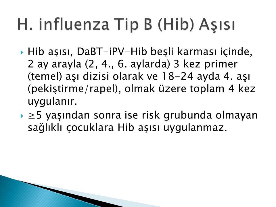  Hib aşısı, DaBT-iPV-Hib beşli karması içinde, 2 ay arayla (2, 4., 6. aylarda) 3 kez primer (temel) aşı dizisi olarak ve 18-24 ayda 4. aşı (pekiştirm