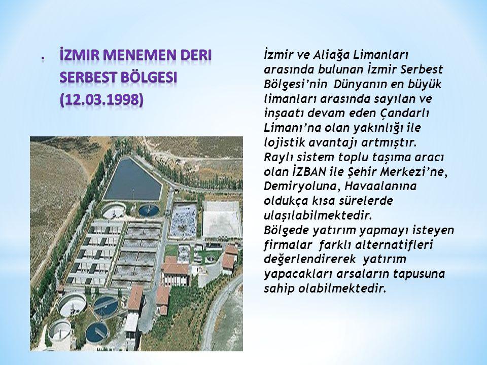 İzmir ve Aliağa Limanları arasında bulunan İzmir Serbest Bölgesi'nin Dünyanın en büyük limanları arasında sayılan ve inşaatı devam eden Çandarlı Limanı'na olan yakınlığı ile lojistik avantajı artmıştır.