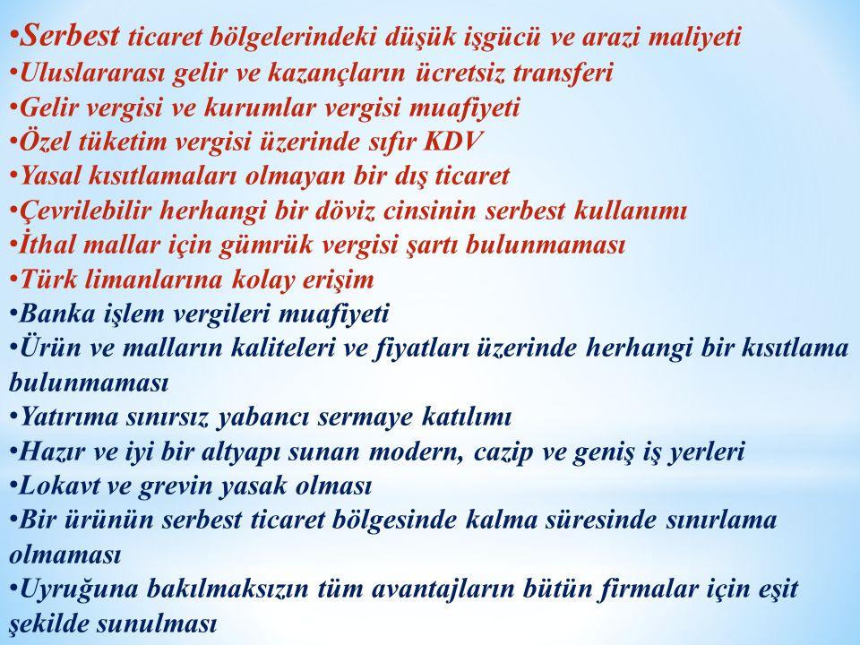 Serbest ticaret bölgelerindeki düşük işgücü ve arazi maliyeti Uluslararası gelir ve kazançların ücretsiz transferi Gelir vergisi ve kurumlar vergisi muafiyeti Özel tüketim vergisi üzerinde sıfır KDV Yasal kısıtlamaları olmayan bir dış ticaret Çevrilebilir herhangi bir döviz cinsinin serbest kullanımı İthal mallar için gümrük vergisi şartı bulunmaması Türk limanlarına kolay erişim Banka işlem vergileri muafiyeti Ürün ve malların kaliteleri ve fiyatları üzerinde herhangi bir kısıtlama bulunmaması Yatırıma sınırsız yabancı sermaye katılımı Hazır ve iyi bir altyapı sunan modern, cazip ve geniş iş yerleri Lokavt ve grevin yasak olması Bir ürünün serbest ticaret bölgesinde kalma süresinde sınırlama olmaması Uyruğuna bakılmaksızın tüm avantajların bütün firmalar için eşit şekilde sunulması