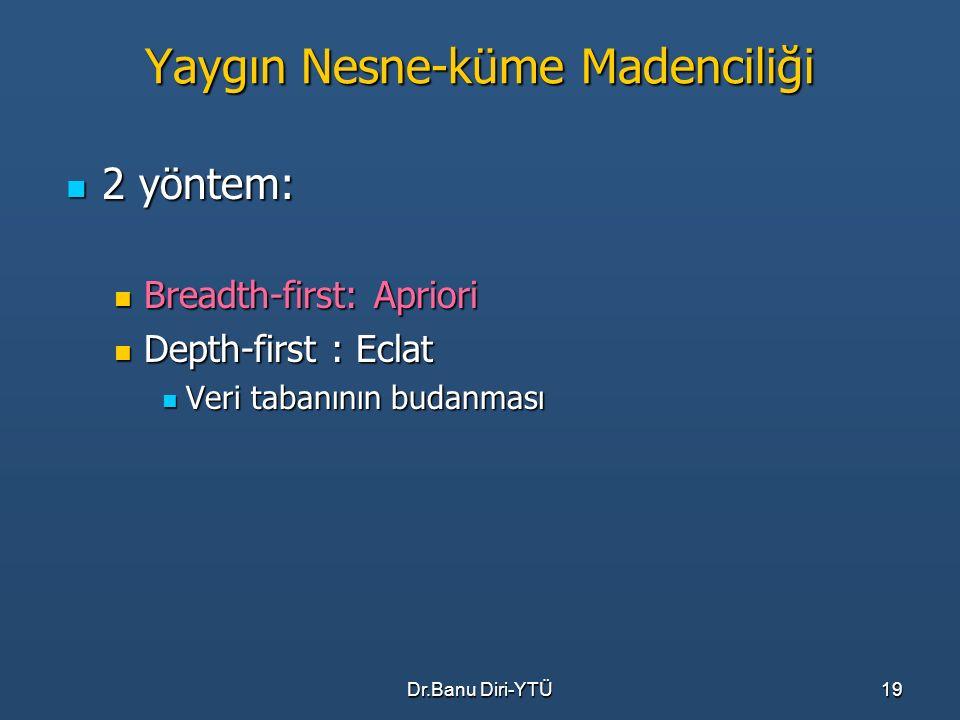 Dr.Banu Diri-YTÜ19 Yaygın Nesne-küme Madenciliği 2 yöntem: 2 yöntem: Breadth-first: Apriori Breadth-first: Apriori Depth-first : Eclat Depth-first : E