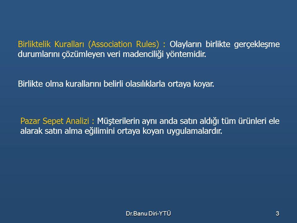 Dr.Banu Diri-YTÜ3 Birliktelik Kuralları (Association Rules) : Olayların birlikte gerçekleşme durumlarını çözümleyen veri madenciliği yöntemidir. Birli