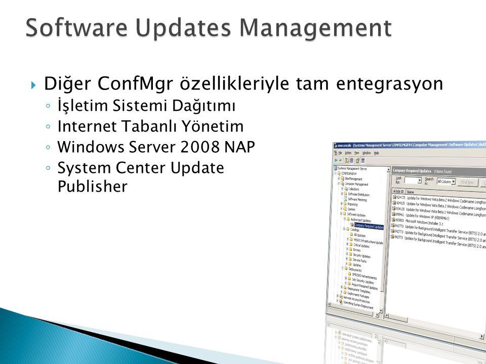 Diğer ConfMgr özellikleriyle tam entegrasyon ◦ İşletim Sistemi Dağıtımı ◦ Internet Tabanlı Yönetim ◦ Windows Server 2008 NAP ◦ System Center Update Publisher