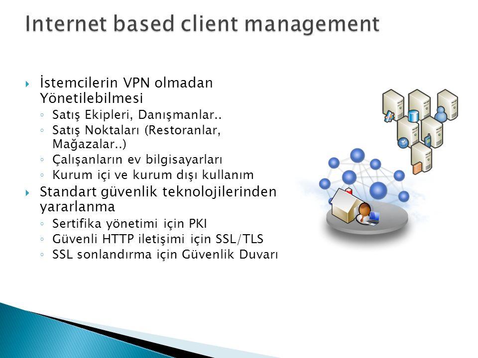  İstemcilerin VPN olmadan Yönetilebilmesi ◦ Satış Ekipleri, Danışmanlar..