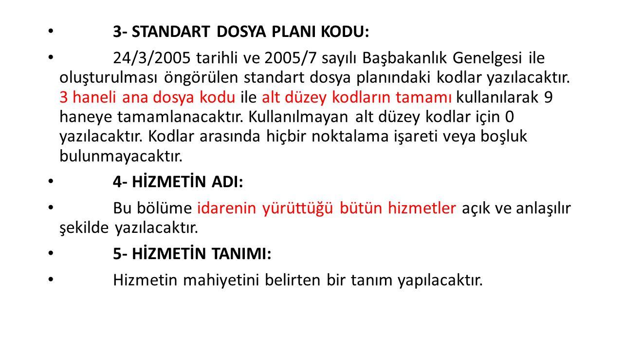 3- STANDART DOSYA PLANI KODU: 24/3/2005 tarihli ve 2005/7 sayılı Başbakanlık Genelgesi ile oluşturulması öngörülen standart dosya planındaki kodlar yazılacaktır.