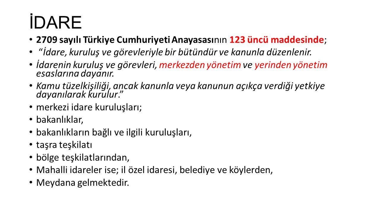 İDARE 2709 sayılı Türkiye Cumhuriyeti Anayasasının 123 üncü maddesinde; İdare, kuruluş ve görevleriyle bir bütündür ve kanunla düzenlenir.