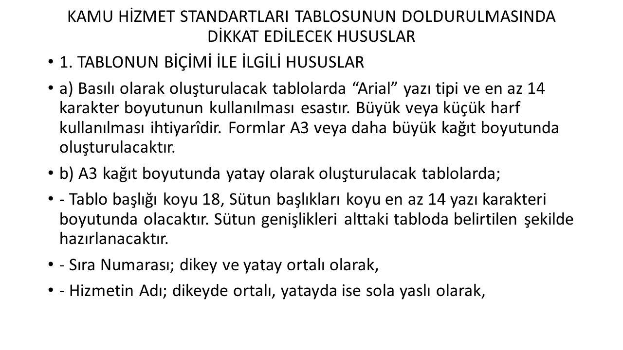 KAMU HİZMET STANDARTLARI TABLOSUNUN DOLDURULMASINDA DİKKAT EDİLECEK HUSUSLAR 1.
