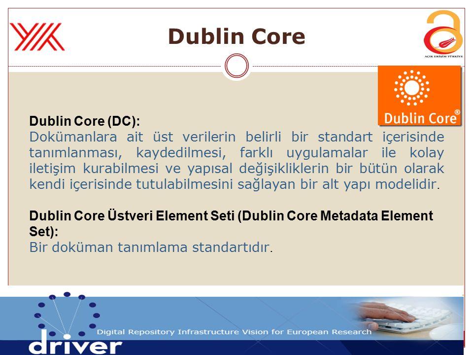 Dublin Core Dublin Core (DC): Dokümanlara ait üst verilerin belirli bir standart içerisinde tanımlanması, kaydedilmesi, farklı uygulamalar ile kolay i