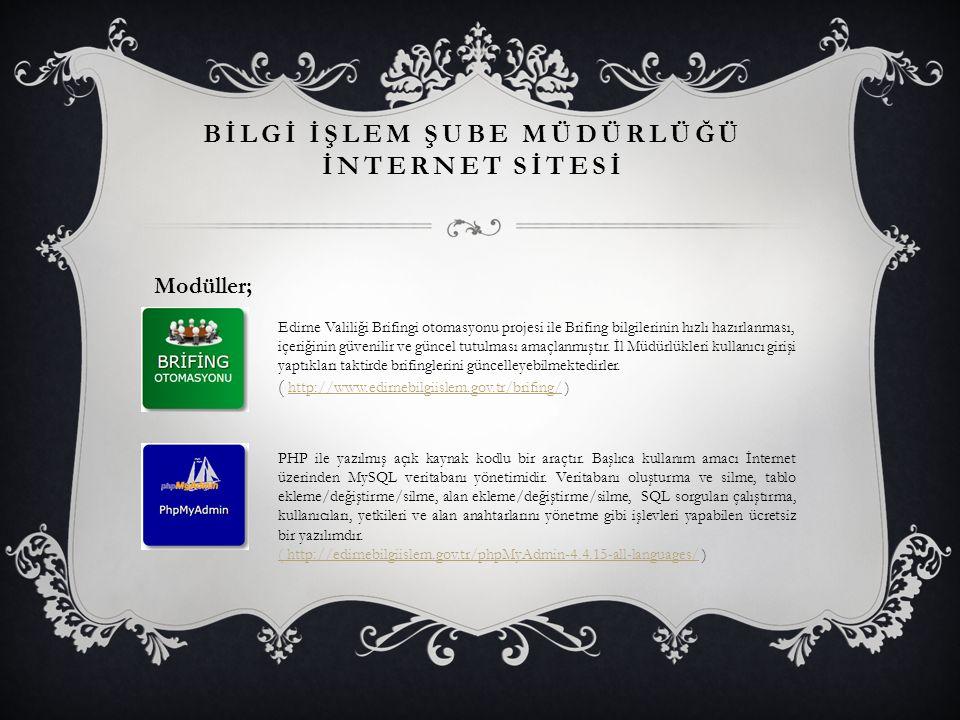 BİLGİ İŞLEM ŞUBE MÜDÜRLÜĞÜ İNTERNET SİTESİ Modüller; Edirne Valiliği Brifingi otomasyonu projesi ile Brifing bilgilerinin hızlı hazırlanması, içeriğinin güvenilir ve güncel tutulması amaçlanmıştır.