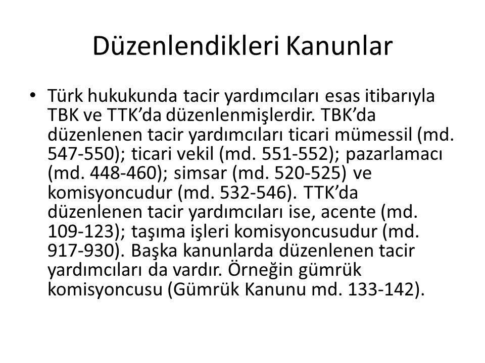 Sınıflandırma TBK ve TTK'da düzenlenen tacir yardımcılarından bir kısmı bağımlı (bağlı) tacir yardımcısı şeklinde nitelendirilir.