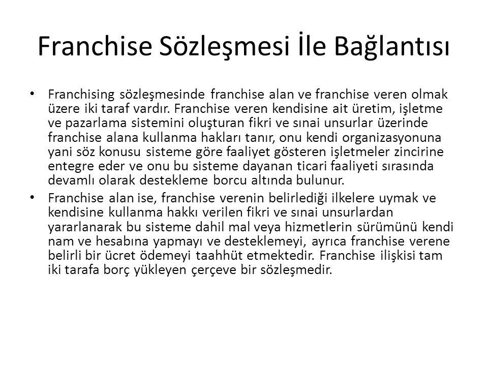Franchise Sözleşmesi İle Bağlantısı Franchising sözleşmesinde franchise alan ve franchise veren olmak üzere iki taraf vardır.