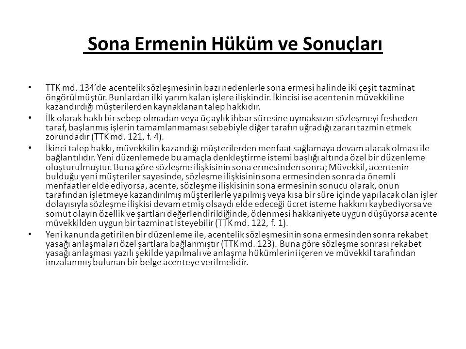 Sona Ermenin Hüküm ve Sonuçları TTK md.