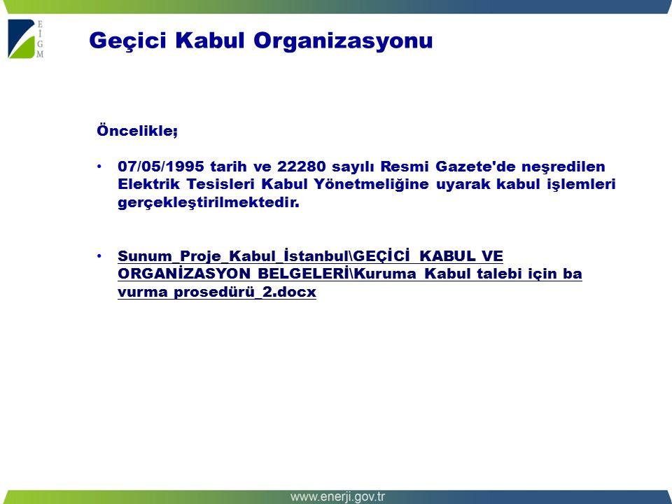 Öncelikle; 07/05/1995 tarih ve 22280 sayılı Resmi Gazete de neşredilen Elektrik Tesisleri Kabul Yönetmeliğine uyarak kabul işlemleri gerçekleştirilmektedir.