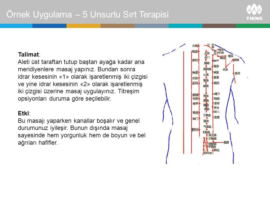 Talimat: Aleti üst taraftan tutup baştan ayağa kadar ana meridiyenlere masaj yapınız. Bundan sonra idrar kesesinin «1» olarak işaretlenmiş iki çizgisi