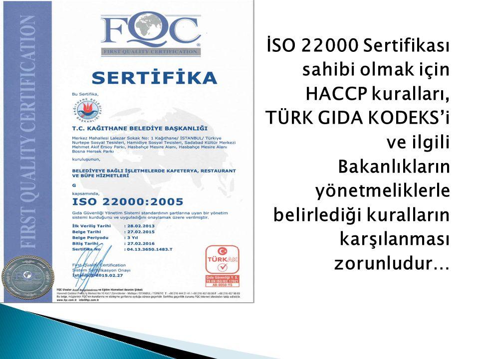 İSO 22000 Sertifikası sahibi olmak için HACCP kuralları, TÜRK GIDA KODEKS'i ve ilgili Bakanlıkların yönetmeliklerle belirlediği kuralların karşılanmas