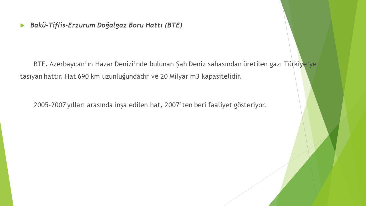 Bakü-Tiflis-Erzurum Doğalgaz Boru Hattı (BTE) BTE, Azerbaycan'ın Hazar Denizi'nde bulunan Şah Deniz sahasından üretilen gazı Türkiye'ye taşıyan hatt