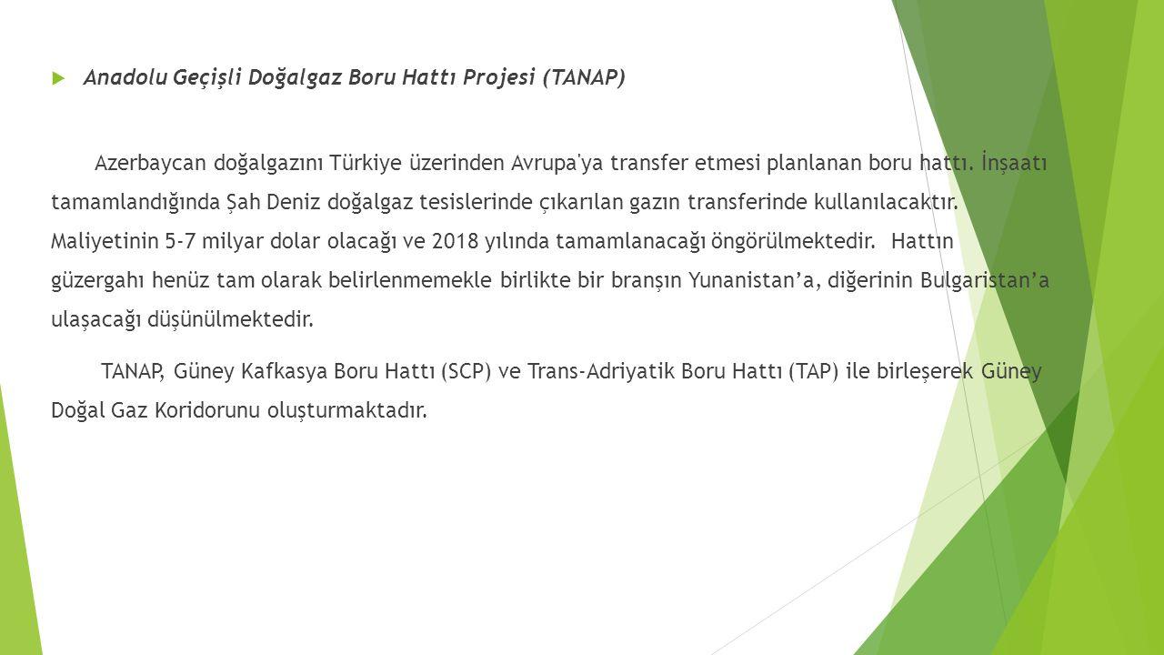  Anadolu Geçişli Doğalgaz Boru Hattı Projesi (TANAP) Azerbaycan doğalgazını Türkiye üzerinden Avrupa'ya transfer etmesi planlanan boru hattı. İnşaatı