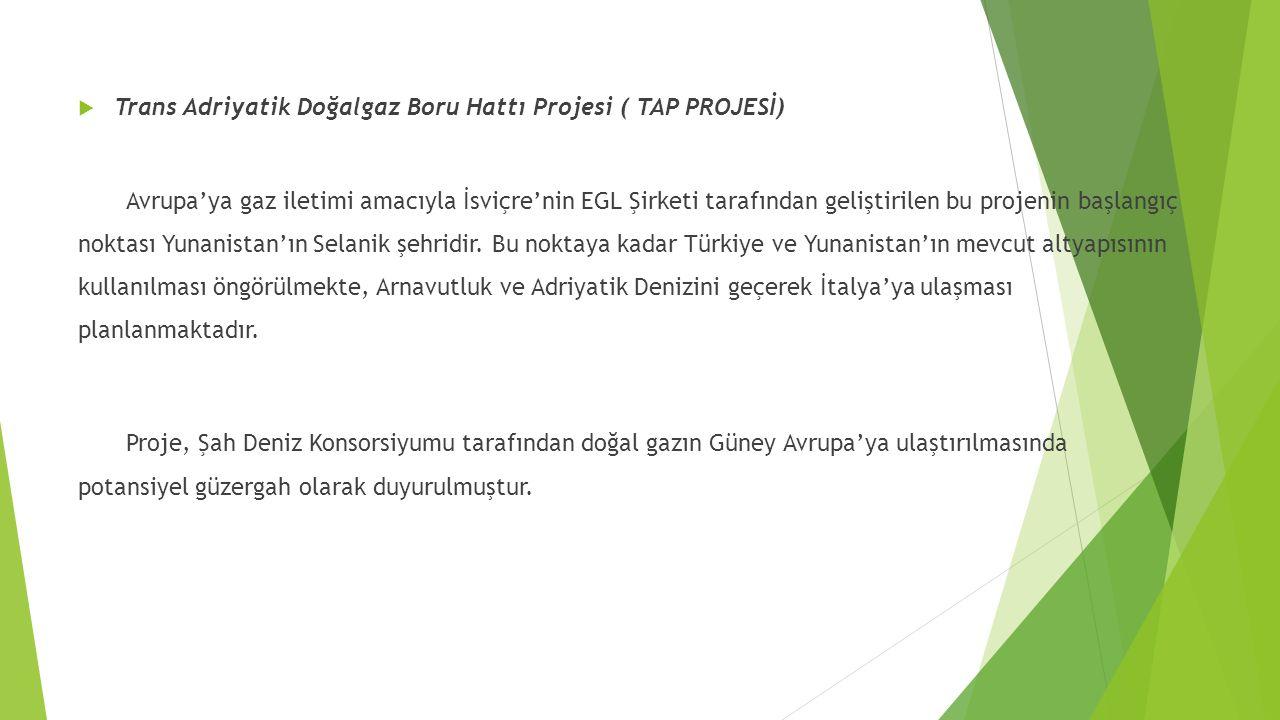  Trans Adriyatik Doğalgaz Boru Hattı Projesi ( TAP PROJESİ) Avrupa'ya gaz iletimi amacıyla İsviçre'nin EGL Şirketi tarafından geliştirilen bu projenin başlangıç noktası Yunanistan'ın Selanik şehridir.