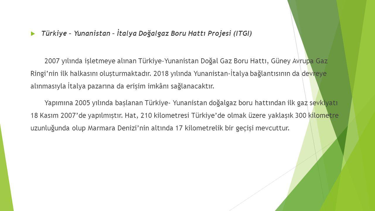  Türkiye – Yunanistan – İtalya Doğalgaz Boru Hattı Projesi (ITGI) 2007 yılında işletmeye alınan Türkiye-Yunanistan Doğal Gaz Boru Hattı, Güney Avrupa