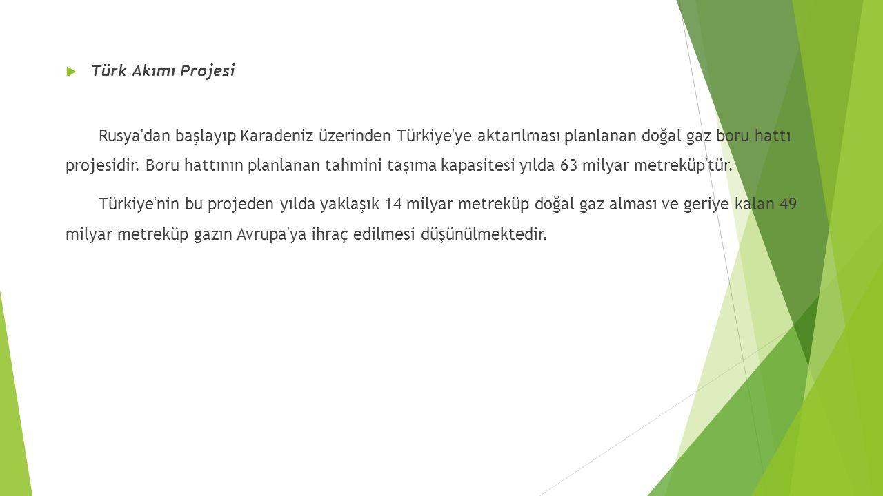  Türk Akımı Projesi Rusya'dan başlayıp Karadeniz üzerinden Türkiye'ye aktarılması planlanan doğal gaz boru hattı projesidir. Boru hattının planlanan