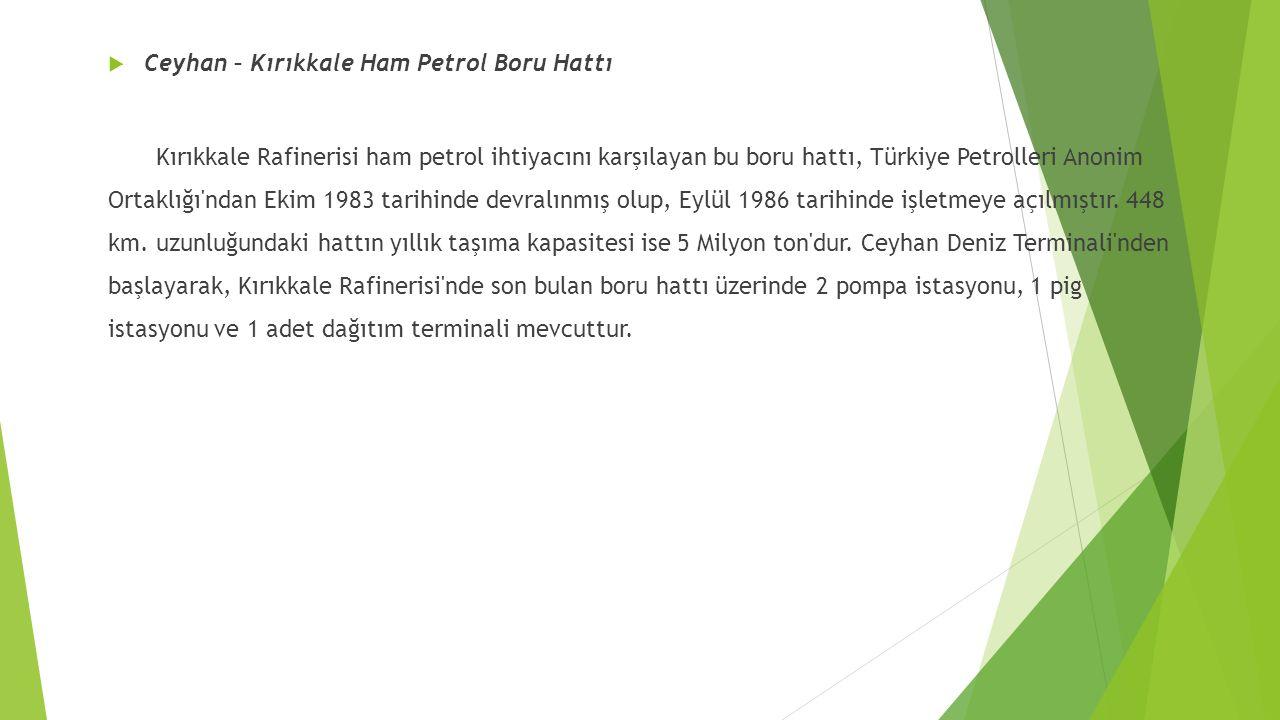  Ceyhan – Kırıkkale Ham Petrol Boru Hattı Kırıkkale Rafinerisi ham petrol ihtiyacını karşılayan bu boru hattı, Türkiye Petrolleri Anonim Ortaklığı ndan Ekim 1983 tarihinde devralınmış olup, Eylül 1986 tarihinde işletmeye açılmıştır.