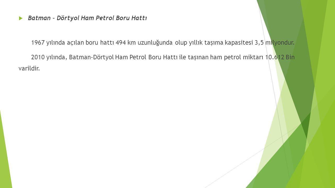  Batman – Dörtyol Ham Petrol Boru Hattı 1967 yılında açılan boru hattı 494 km uzunluğunda olup yıllık taşıma kapasitesi 3,5 milyondur. 2010 yılında,