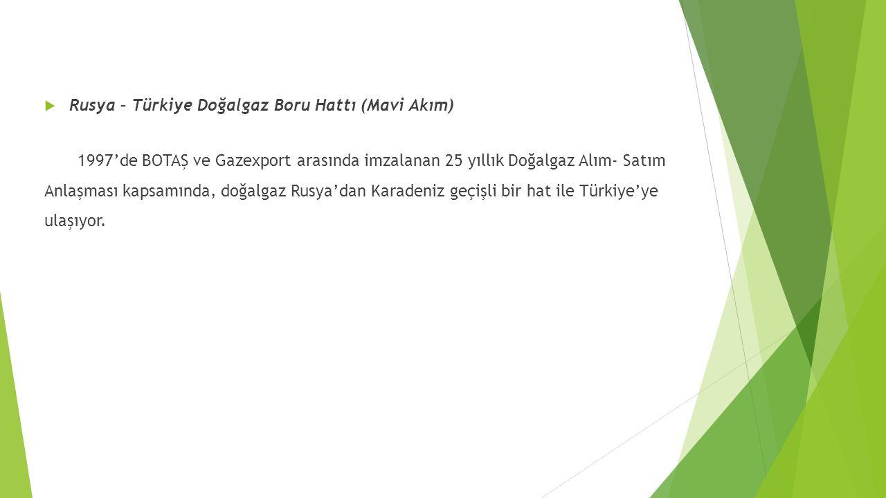  Rusya – Türkiye Doğalgaz Boru Hattı (Mavi Akım) 1997'de BOTAŞ ve Gazexport arasında imzalanan 25 yıllık Doğalgaz Alım- Satım Anlaşması kapsamında, d