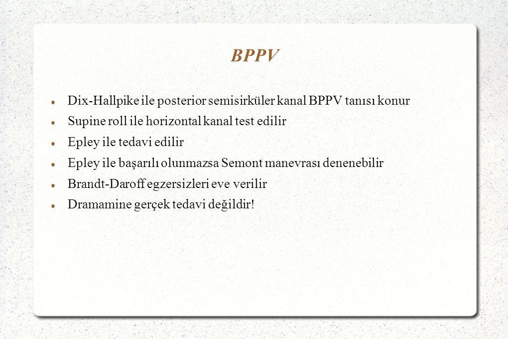 BPPV Dix-Hallpike ile posterior semisirküler kanal BPPV tanısı konur Supine roll ile horizontal kanal test edilir Epley ile tedavi edilir Epley ile başarılı olunmazsa Semont manevrası denenebilir Brandt-Daroff egzersizleri eve verilir Dramamine gerçek tedavi değildir!