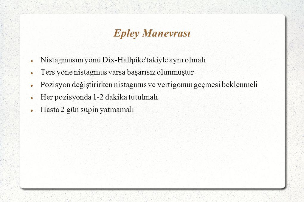 Epley Manevrası Nistagmusun yönü Dix-Hallpike'takiyle aynı olmalı Ters yöne nistagmus varsa başarısız olunmuştur Pozisyon değiştirirken nistagmus ve v