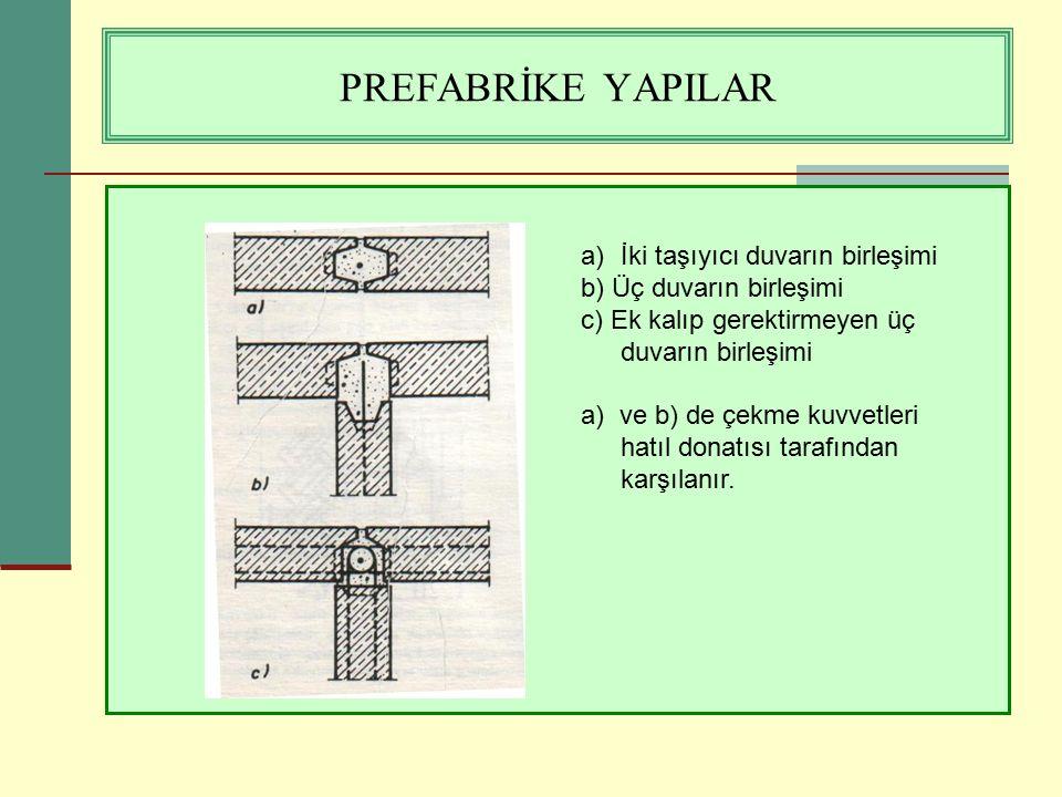 PREFABRİKE YAPILAR a)İki taşıyıcı duvarın birleşimi b) Üç duvarın birleşimi c) Ek kalıp gerektirmeyen üç duvarın birleşimi a) ve b) de çekme kuvvetler