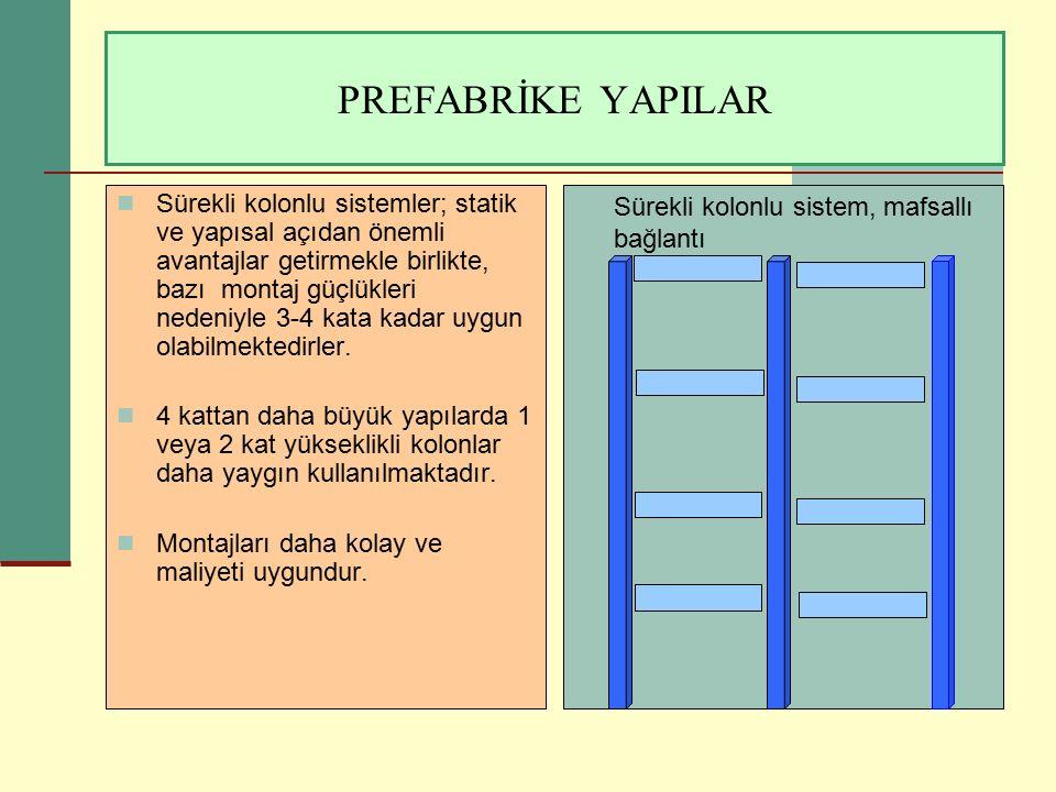 PREFABRİKE YAPILAR Sürekli kolonlu sistem, mafsallı bağlantı Sürekli kolonlu sistemler; statik ve yapısal açıdan önemli avantajlar getirmekle birlikte