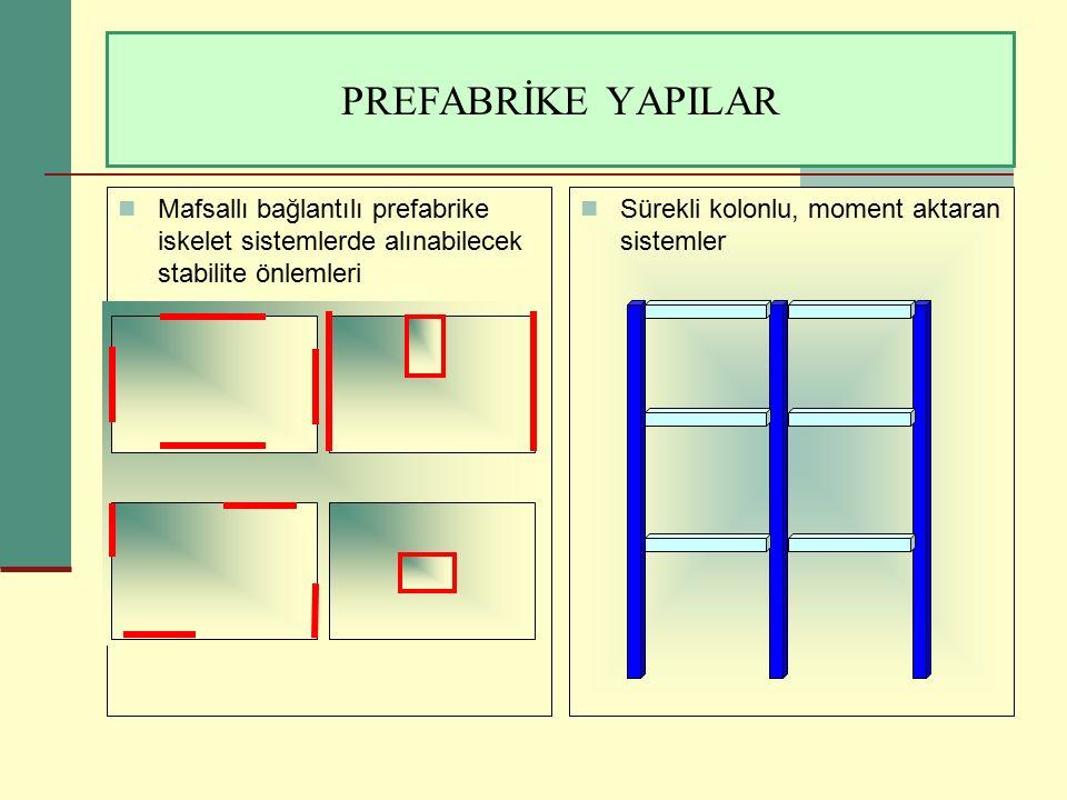 PREFABRİKE YAPILAR Mafsallı bağlantılı prefabrike iskelet sistemlerde alınabilecek stabilite önlemleri Sürekli kolonlu, moment aktaran sistemler