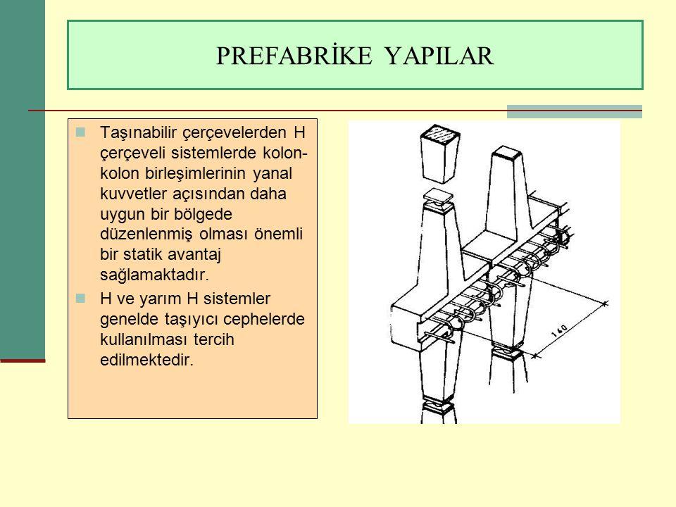 PREFABRİKE YAPILAR Taşınabilir çerçevelerden H çerçeveli sistemlerde kolon- kolon birleşimlerinin yanal kuvvetler açısından daha uygun bir bölgede düz