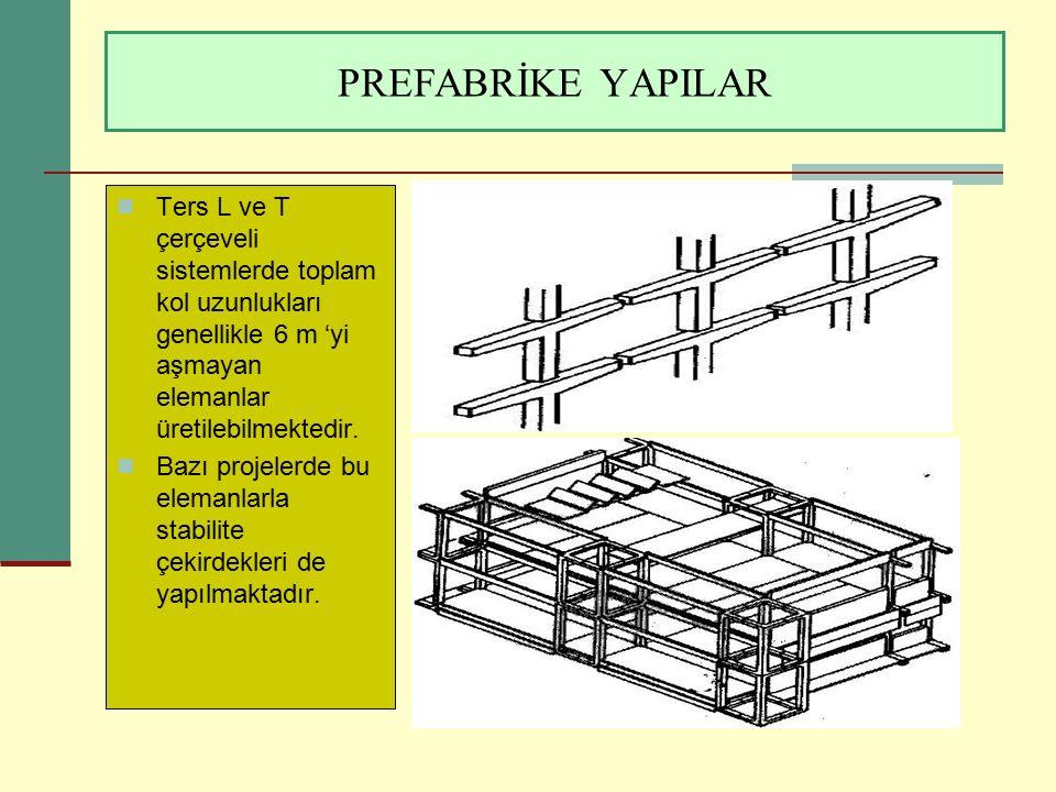 PREFABRİKE YAPILAR Ters L ve T çerçeveli sistemlerde toplam kol uzunlukları genellikle 6 m 'yi aşmayan elemanlar üretilebilmektedir. Bazı projelerde b