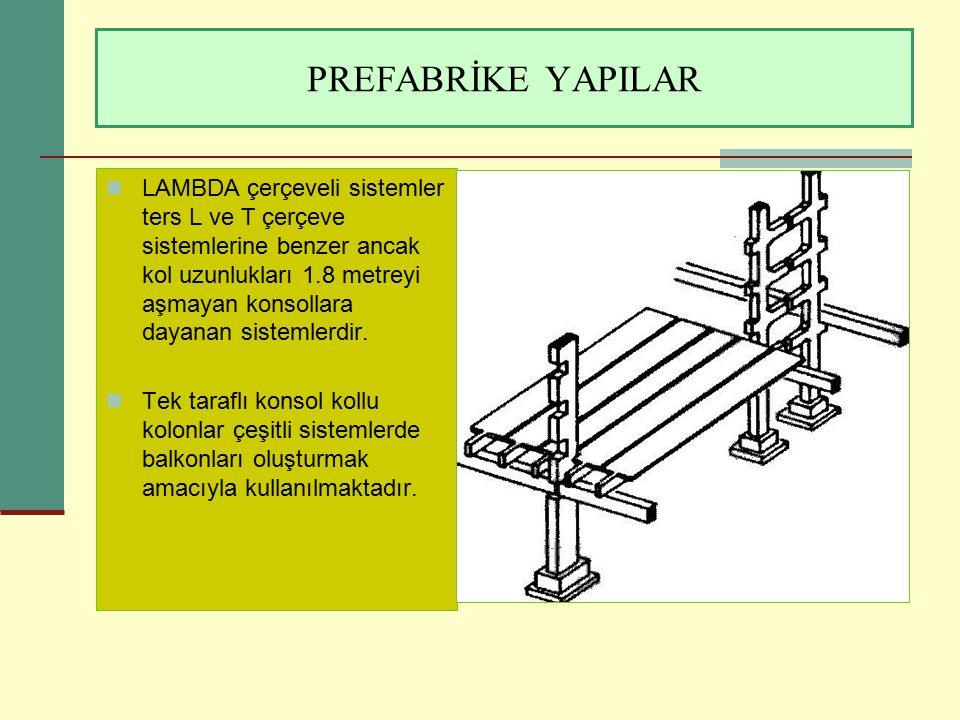 PREFABRİKE YAPILAR LAMBDA çerçeveli sistemler ters L ve T çerçeve sistemlerine benzer ancak kol uzunlukları 1.8 metreyi aşmayan konsollara dayanan sis