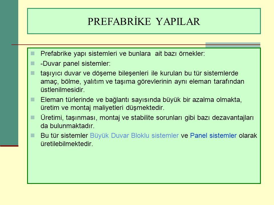 PREFABRİKE YAPILAR Panel sisteme ait uygulama örneği