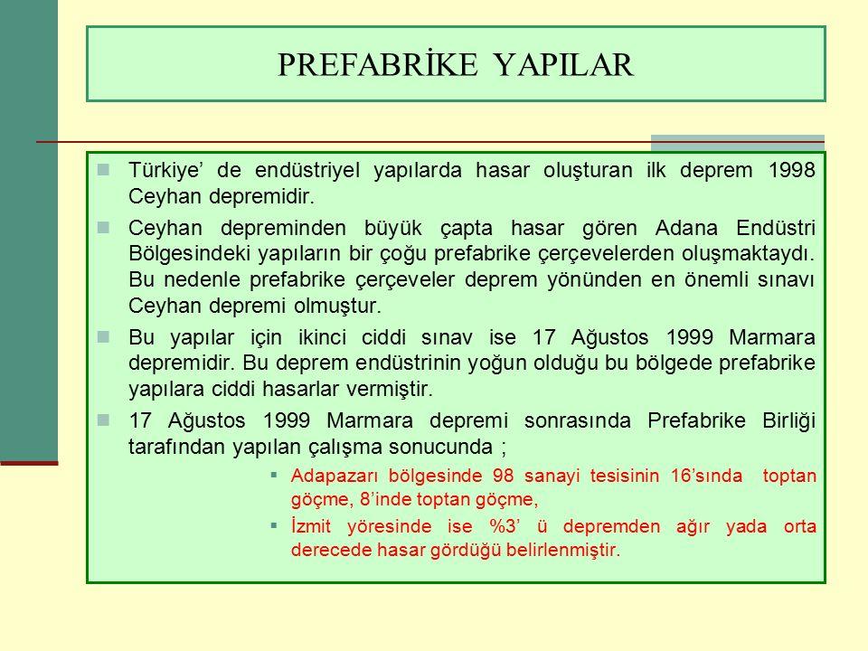 PREFABRİKE YAPILAR Türkiye' de endüstriyel yapılarda hasar oluşturan ilk deprem 1998 Ceyhan depremidir. Ceyhan depreminden büyük çapta hasar gören Ada