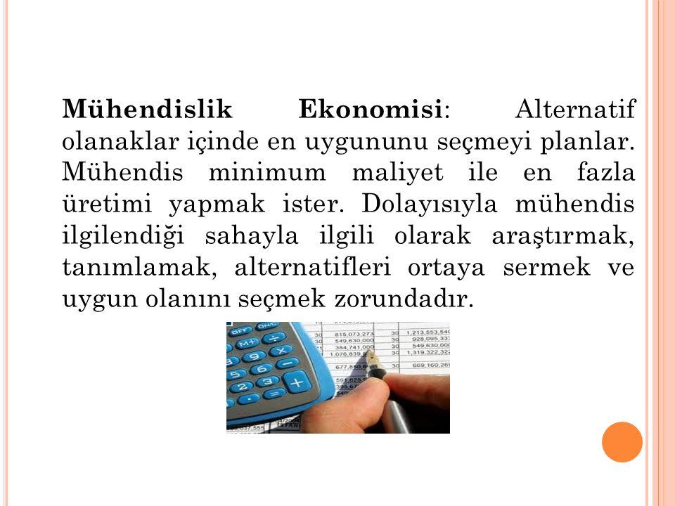Mühendislik Ekonomisi : Alternatif olanaklar içinde en uygununu seçmeyi planlar.